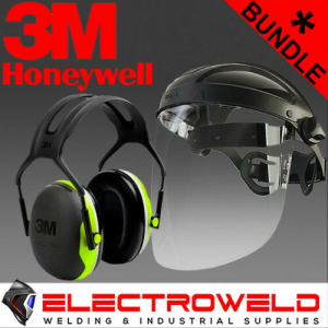 3M Peltor Face and Ear Protection Kit *Earmuffs X4A + Honeywell Face Shield Visor*