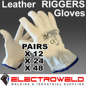 12 x Leather Rigger Gloves Safety Work Welding Gardening - S,M,L