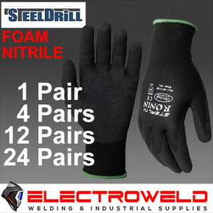 Stealth Ronin Safety Gloves, Work / Garden / Mechanic, Black - Foam Nitrile