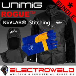 WELDING PROTECTION BUNDLE - LEATHER JACKET, HOOD, GLOVES - UNIMIG ROGUE MIG TIG