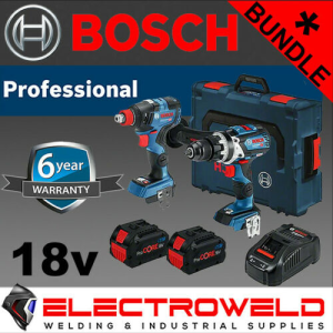 2 Piece BOSCH Cordless Brushless Bundle *18V 8Ah Hammer Drill + Impact Driver + Batteries + Charger*