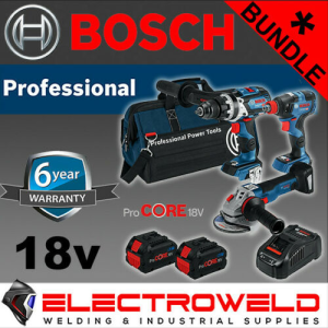 3 Piece Bosch Cordless Brushless Bundle *18V 8Ah Hammer Drill + Impact Driver + Grinder*
