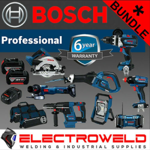 8 Pce Bosch Cordless Bundle  *18V 5Ah Hammer Drill + Saw + Driver + Grinder + Radio + Light + Batteries*