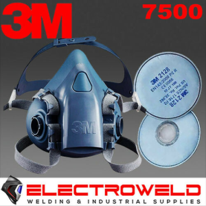 3M *7500 Half Face Respirator Mask + 2128 GP2 Filters*, Welding / Smoke / Paint / Gas - S, M , L