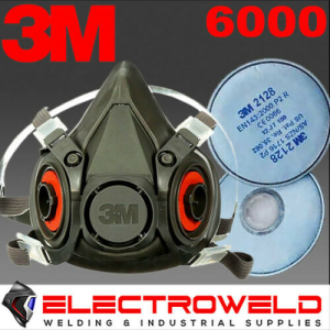 3M *6000 Half Face Respirator Mask + 2128 GP2 Filters*, Welding / Smoke / Paint / Gas - S, M , L