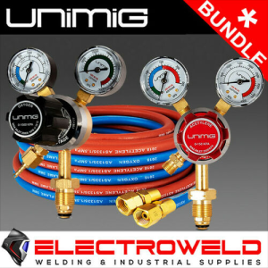 UNIMIG *Acetylene + Oxygen Regulators, plus Twin Hose Set* (Acet / Oxy) - Gas Welding Bundle