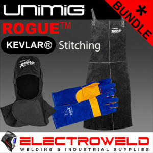 LEATHER APRON, HOOD, GLOVES WELDING BUNDLE -FACE PROTECTION UNIMIG ROGUE MIG TIG