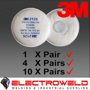 3M 2125 P2 Filters for Welding / Paint / Gas / Odour / Flu / Smoke - Suits 6000 / 7000 Respirator Series