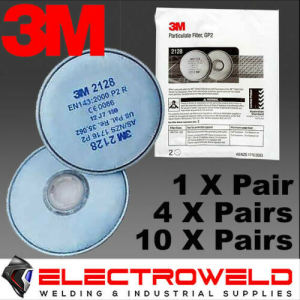 3M 2128 P2 Filters for Welding / Paint / Gas / Odour / Flu / Smoke - Suits 6000 / 7000 Series Respirators