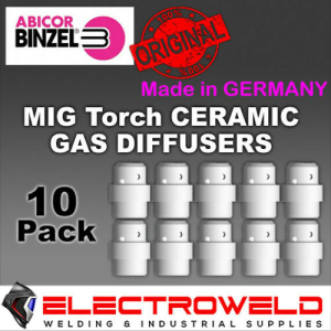 10x Genuine BINZEL MB24 KD Mig Ceramic Gas Diffuser 20mm Welding Torch, 012.0183