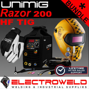 UNIMIG Razor 200 DC HF Tig/Stick Bundle *Welder, Helmet, Gloves, Torch, Regulator*