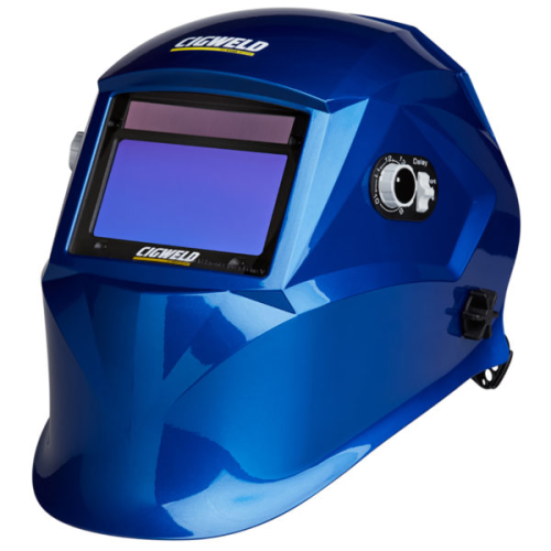 CIGWELD ProLite Automatic Welding Helmet - Blue|A photo of the CIGWELD ProLite Automatic Welding Helmet - Blue facing left