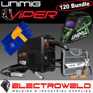 Unimig 120 Viper Synergetic Mig Bundle - *Machine, Wire, Helmet, Gloves, Consumable Starter Kit*
