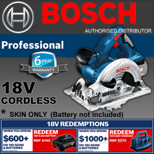 BOSCH Cordless Circular Saw 165mm + Blade - GKS 18 V-LI (Skin Only) - 060166H040