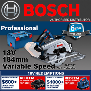 BOSCH 18V 184mm Cordless Biturbo Brushless Circular Saw Mitre GKS 18V-68 GC Skin