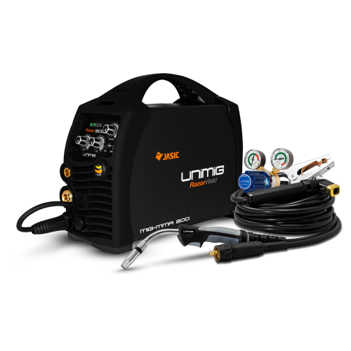 200amp Razorweld Welder Kit View |A photo of the 200amp razorweld welder package with the welder facing right