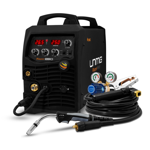 250amp Razorweld Welder Kit View |A photo of the 250amp razorweld welder package with the welder facing right