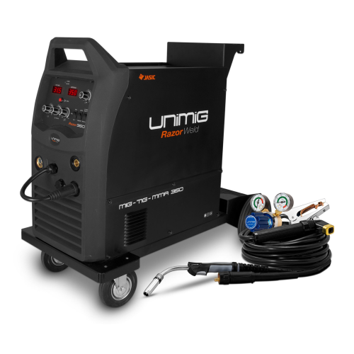 350amp Razorweld Welder Kit View |A photo of the 350amp razorweld welder facing at the viewer