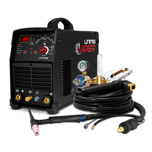 180amp Viper Welder Kit View |A photo of the 180amp Viper welder package with the welder facing right