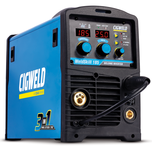 CIGWELD WeldSkill 185 MIG/TIG/STICK Facing Right |A photo of the CIGWELD WeldSkill 185 MIG/TIG/STICK Facing Right